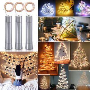 10/15/20LEDs Cork Shaped Wine Bottle Fairy String Lights Lamp AA Battery UK