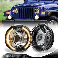 "7"" Round H6014/H6017/H6024 Yellow LED Ring Black Diamond Projector Headlights"