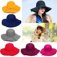 Vintage Womens Wide Brim Wool Felt Bowler Fedora Hat Hats Floppy Cloche Sun Cap