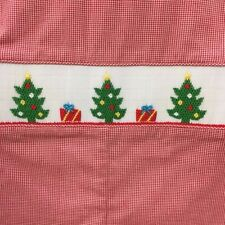 NWT Petit Bebe Anavini Smocked Christmas Tree Red Jon Jon 6 Month