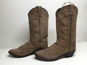 VTG WOMENS UNBRANDED DED COWBOY SUEDE LIGHT BROWN BOOTS SIZE 10