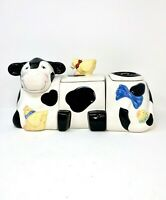 """Canister Set Cow Ceramic Black & White 3 Sections 6 Pieces Good Cond  8"""" x 16"""""""
