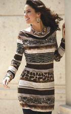 NEW WOMENS MONROE & MAIN BROWN PATTERN ANIMAL BANDED TUNIC TOP PLUS SIZE 1X