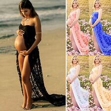 Pregnant Women Front Split Maternity Dress Photography Prop Long Maxi Dresses US