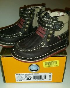 Stride Rite NIB Boys Medallion Maxwell CUTE Dark Brown Size 4M Shoes