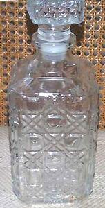 Cristal Cris d'Arques Durand DAMIER Clear Glass Whiskey Barware Decanter