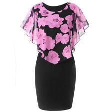 Plus Size Women Party Cocktail Mini Dress Rose Print Flare O-Neck Chiffon Dress