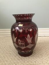 VINTAGE EGERMANN CZECH GLASS VASE/10 1/4 INCHES-RUBY RED CUT TO CLEAR PERFECT
