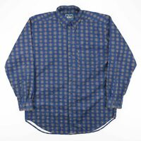 Vintage WOOLRICH Made In USA Blue Crazy Pattern Cotton Shirt Men's Size Large