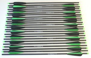 """22"""" Super Fast Crossbow Bolts 100% Carbon Black/Green Hobo Archery Qty 12"""