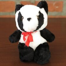 """Plush Giant Panda Bear Red Bowtie - about 8"""" tall - Brand New"""