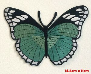 Colourful Butterfly Cute Green Large Embroidered Iron Sew on Patch #1561L