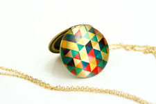 Triangles Colorful Locket, Long Geometric Image Necklace, Large Neon Pendant