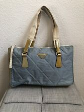 PRADA Blue Quilted Nylon and Patent Leather Tote Hand Bag Purse