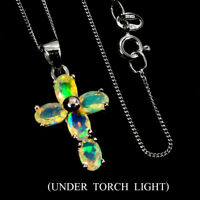 Unheated Oval Fire Opal 6x4mm Natural 925 Sterling Silver Cross Necklace 18 Inch
