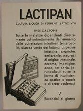 CARTA ASSORBENTE D' EPOCA CON PUBBLICITA' FARMACEUTICA LACTIPAN #191
