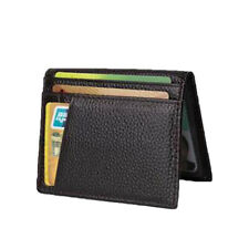 Men's Genuine Leather Slim Wallet Thin Credit Card Holder ID Case Purse Coffee