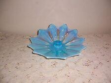 FOSTORIA ART GLASS HEIRLOOM BLUE OPALESCENT CANDLEHOLDER