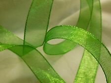 """10 Yards Green Metallic Mesh Ribbon with Wired Edges - 1 1/2"""" wide All Year"""