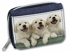 More details for golden retriever puppies girls/ladies denim purse wallet christmas gi, ad-gr56jw