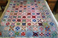 "Vintage 1930s Quilt Top IMPROVED 9 NINE PATCH Circle Feedsack Fabric 70""Wx88""H"