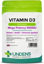 Vitamin D3 5000iu (150 Capsules) Bone Teeth Immune UK Manufacturer Lindens 0922]