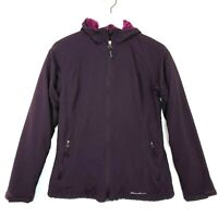 Eddie bauer hooded faux fur lined jacket coat zip up dark purple womens size xs