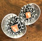 Vtg Estate Mary Gage 1940's Sterling Silver Arts & Crafts Retro Coral Earrings