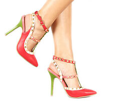 BN Red Green Beige pink Fashion Pyramid Stud STRAPPY Ankle T Strap High Heel 7