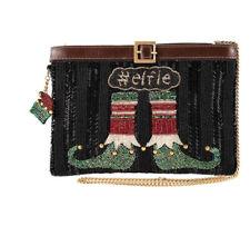 Mary Frances Elfie, Beaded Elf Stockings Crossbody Holiday Handbag NWT!