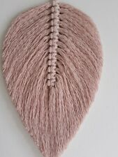 Macrame Feather/leaf Wall Hanging Decoration, Handmade, dusty pink, 27×15 cm.