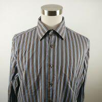 John W Nordstrom Mens Egyptian Cotton LS Button Down Brown Blue Striped Shirt XL