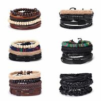 Mother's Day Women Punk Multilayer Leather Bracelet Wristband Bangle Jewelry Set