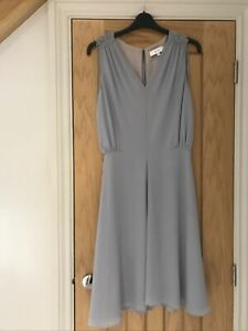 """Reiss Stellie Midi V-Neck Fully Lined Dress In Pale Grey size 8 """"Used VGC"""""""