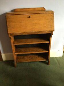 Antique Vintage Small Oak Writing Desk Bureau Bookcase, great project