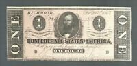 $1 1864 Confederate Currency One Dollar Money Note CSA Bill