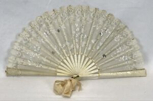 Antique Vintage Silk Hand Embroidered Hand Held Fan