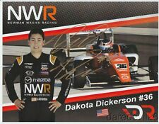 2017 Dakota Dickerson signed Newman Wachs Racing Mazda USF2000 postcard