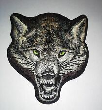 Gray wolf wolves canis lupus biker applique iron-on patch 3.5 X 4 inches