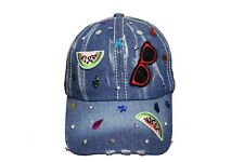 SPECTACLES & MELON SLICE  Denim HAT CAP ..For Teens & Adults..  New