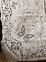 REMARKABLE French Antique Hand Made Tablecloth Needle Lace Dragon, knight