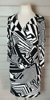 M&Co Black & White Cross Over Stretch Pencil Wiggle Dress 14  Ruching Smart Work
