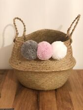 Large Customised Belly Basket With Pom Poms Personalised Storage Basket Planter