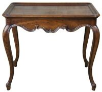 Henredon Country French Rectangular Tea Side Table Oak Pull Out Tray 40-7005