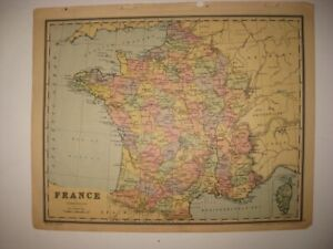 ANTIQUE 1886 FRANCE GERMANY MAP BERLIN PARIS DETAILED WINE AREA INTEREST RARE NR