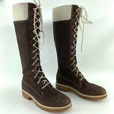 "TIMBERLAND Premium Nubuck Leather 14"" Lace-Up Boots Womens Size 7.5 M Waterproof"