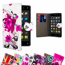 Brand New Designer PU Leather Book Wallet Flip Case Cover for Amazon Fire Phone
