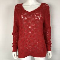 LOFT Womens Large Red Crochet Sweater Top Tunic Cotton Long Sleeve NWT $60