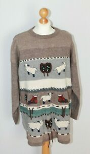 Vintage Betty Barclay Brown Knitted Sheep Jumper Wool Cotton Blend Size XL