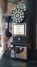 Crosley CR56 Pay Phone Retro 1950's Style Black Payphone + Bank. Tested